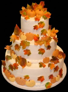 Autumn Wedding Cake - Leaves and Pumpkins